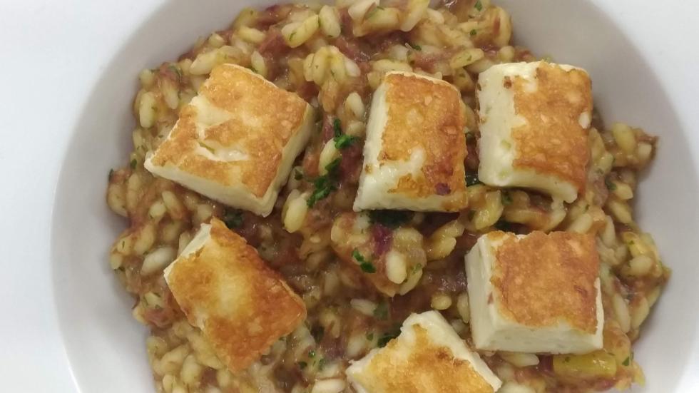 risoto de abóbora com carne seca
